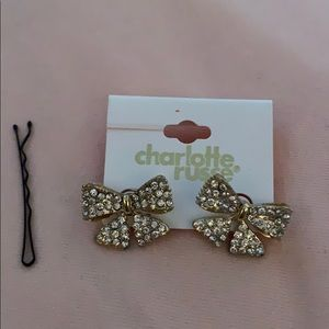 Charlotte Russe Jeweled Bow Earrings